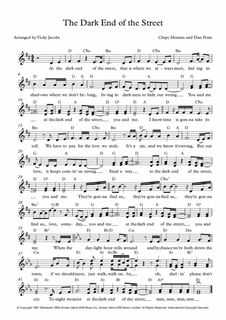 The Dark End Of The Street Lead Sheet For Singalongs