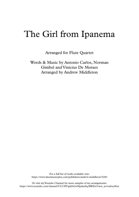 The Girl From Ipanema Arranged For Flute Quartet