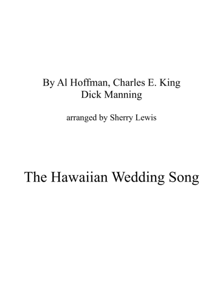 The Hawaiian Wedding Song Ke Kali Nei Au String Trio For String Trio