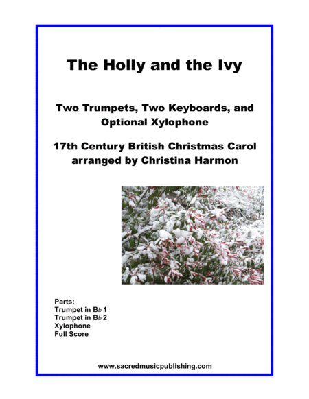 The Holly And The Ivy Two Trumpets Two Keyboards And Optional Xylophone