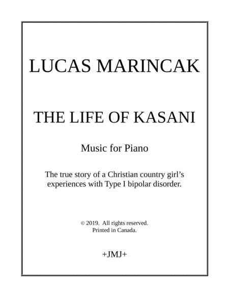 The Life Of Kasani Piano Sonata About A Christian Country Girls Experiences With Bipolar Disorder