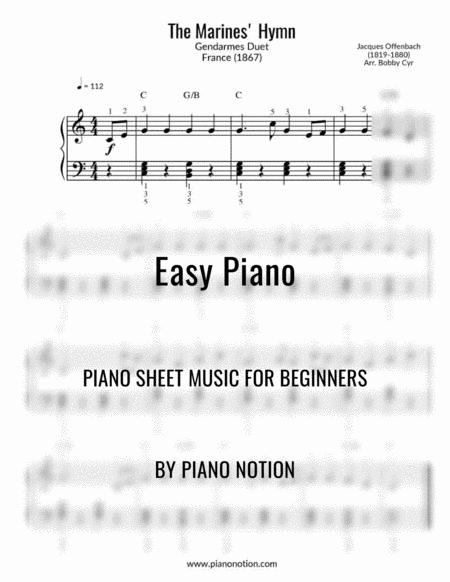 The Marines Hymn Easy Piano Solo Gendarmes Duet