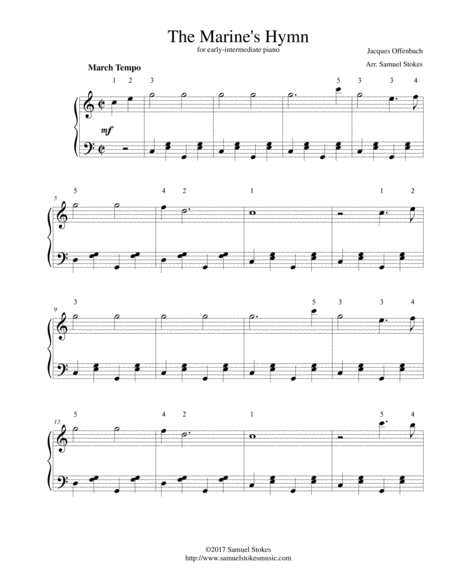 The Marines Hymn For Early Intermediate Piano