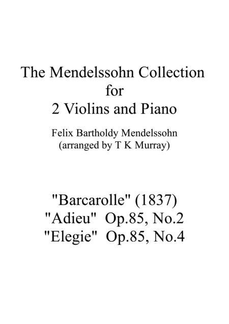 The Mendelssohn Collection 3 Pieces For 2 Violins Violin Duo Violin Group