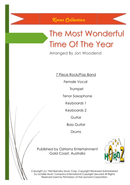 The Most Wonderful Time Of The Year 5 Rhythm 2 Horns Female Vocal