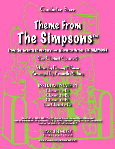 Theme From The Simpsons Tm From The Twentieth Century Fox Television Series The Simpsons For Clarinet Quartet