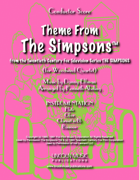 Theme From The Simpsons Tm From The Twentieth Century Fox Television Series The Simpsons For Woodwind Quartet
