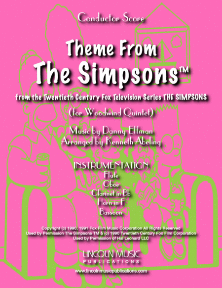 Theme From The Simpsons Tm From The Twentieth Century Fox Television Series The Simpsons For Woodwind Quintet