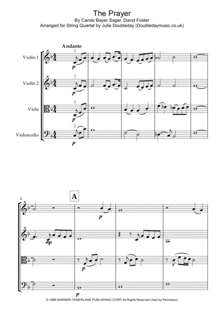 The Prayer For String Quartet Score And Parts