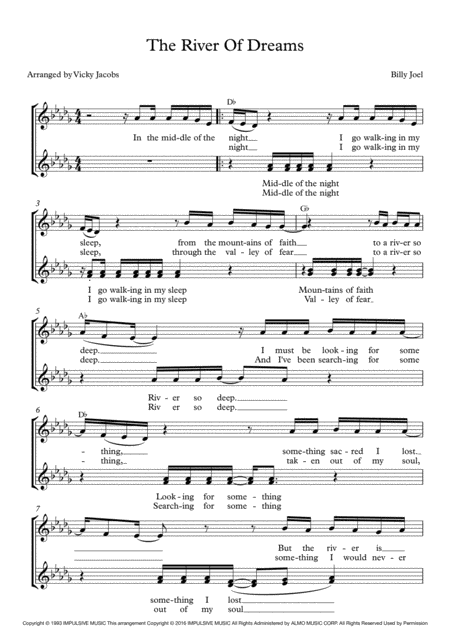 The River Of Dreams Lead Sheet For Singalongs
