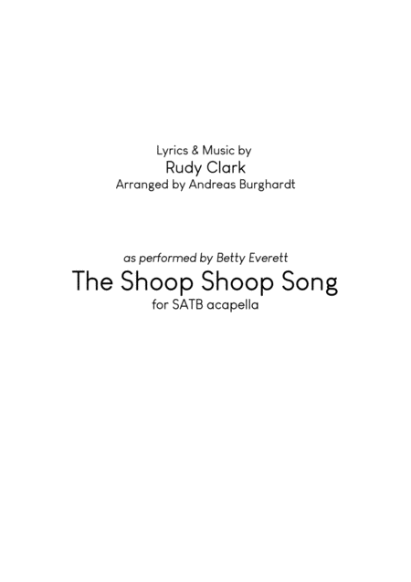 The Shoop Shoop Song Choir Satb Acapella