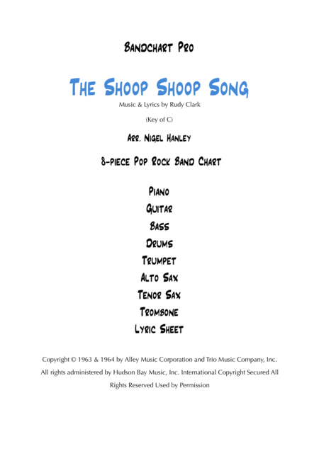 The Shoop Shoop Song Its In His Kiss 8pc Pop Rock Band Chart