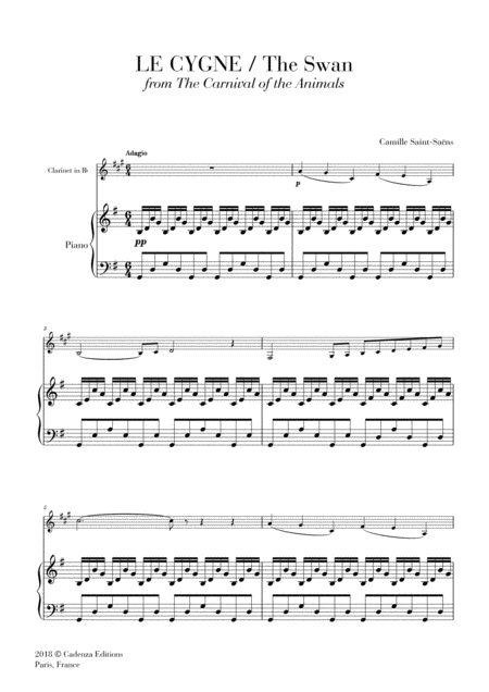 The Swan Le Cygne From The Carnival Of The Animals For Clarinet In Bb And Piano