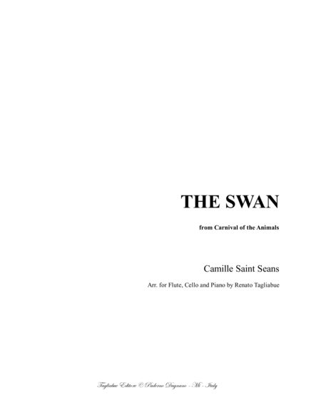 The Swan Le Cygne Saint Seans For Flute Cello Or Any Instr In C Sopr And Bass And Piano