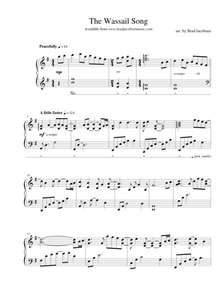 the wassail song here we come a caroling by brad jacobsen free music sheet  - musicsheets.org  music sheet library for all instruments