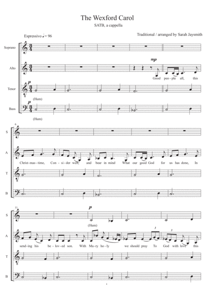 The Wexford Carol Satb A Cappella Arranged By Sarah Jaysmith Traditional Irish Carol