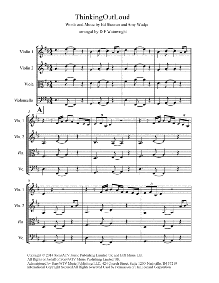 Thinking Out Loud Arranged For String Quartet Score And Parts With Rehearsal Letters Mp3