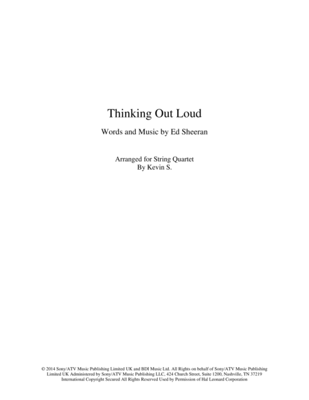 Thinking Out Loud Arranged For String Quartet