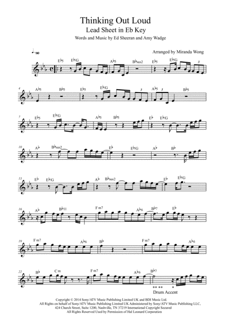 Thinking Out Loud Lead Sheet In Eb Key With Chords
