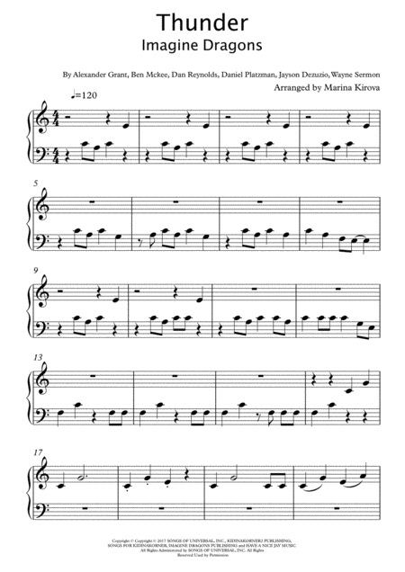 Thunder By Imagine Dragons Big Notes Easy To Read Format