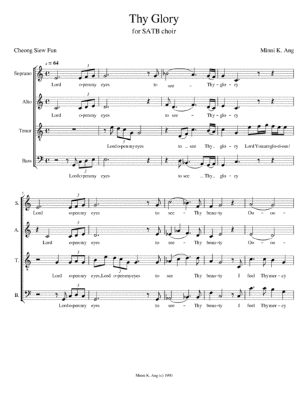 Thy Glory Satb Version