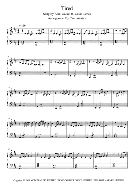 Tired Alan Walker Ft Gavin James Piano Music Sheet