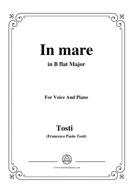 Tosti In Mare In B Flat Major For Voice And Piano