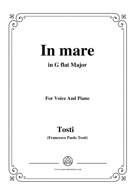 Tosti In Mare In G Flat Major For Voice And Piano