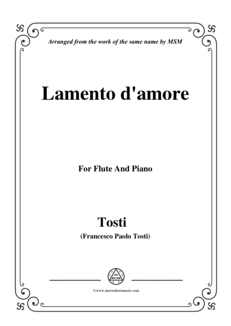 Tosti Lamento D Amore For Flute And Piano