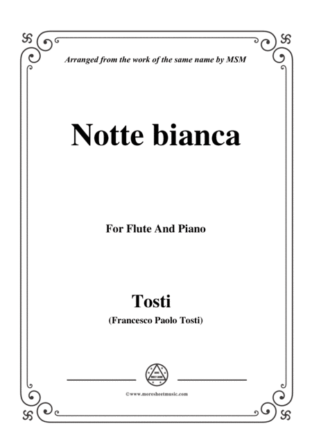 Tosti Notte Bianca For Flute And Piano