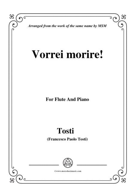 Tosti Vorrei Morire For Flute And Piano