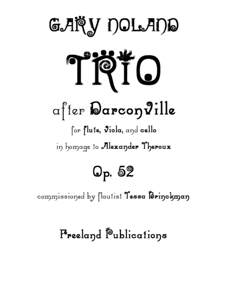 Trio After Darconville For Flute Viola Cello Op 52