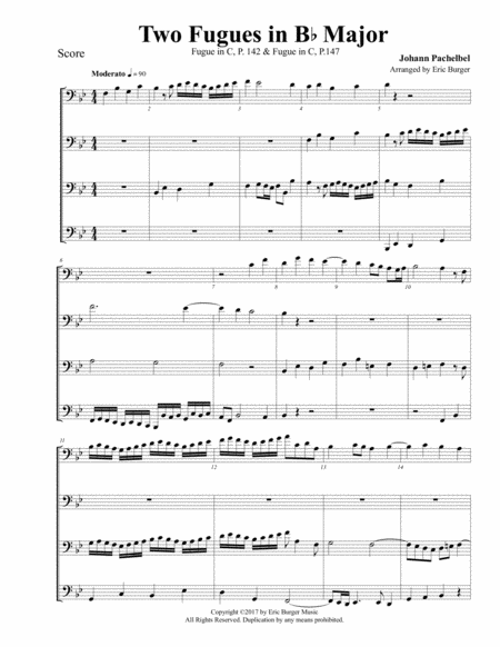 Two Fugues In Bb Major For Trombone Or Low Brass Quartet