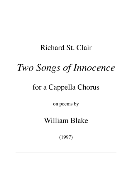 Two Songs Of Innocence After Poems By William Blake I The Ecchoing Green Ii Night