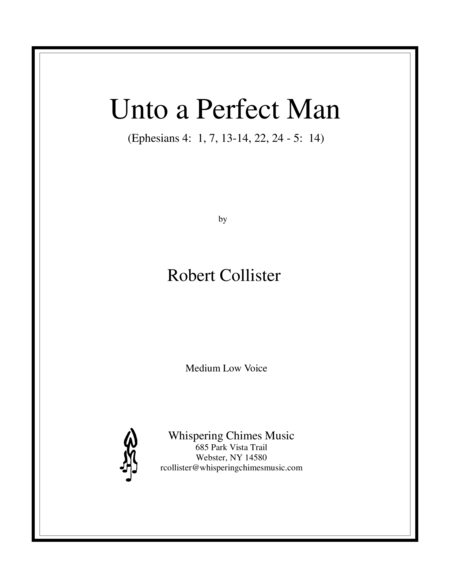 Unto A Perfect Man Medium Low Voice