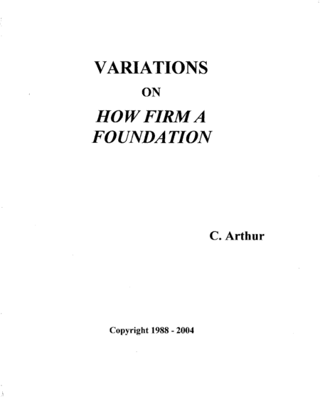 Variations On How Firm A Foundation
