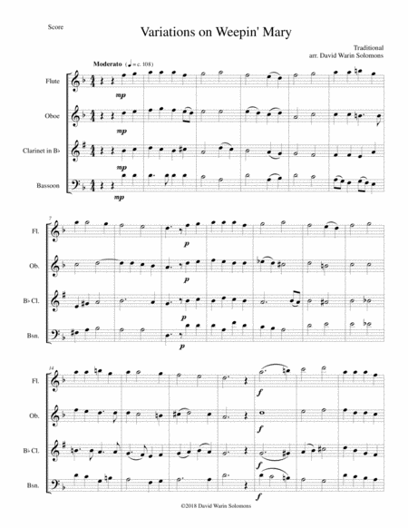 Variations On Weepin Mary For Wind Quartet