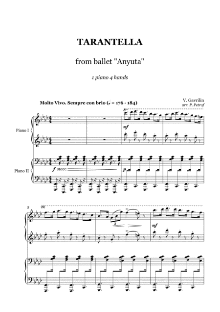 V Gavrilin Tarantella From Ballet Anyuta 1 Piano 4 Hands
