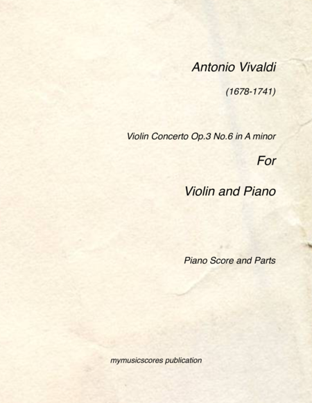 Violin Concerto Op 3 No 6 For Violin And Piano