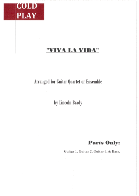 Viva La Vida By Coldplay Guitar Ensemble Parts Only