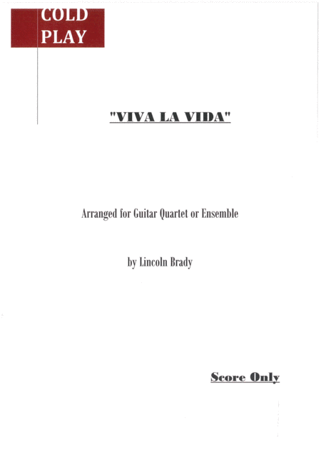 Viva La Vida By Coldplay Guitar Ensemble Score Only