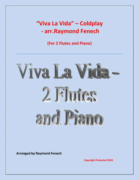 Viva La Vida Coldplay 2 Flutes And Piano With Optional Drum Set