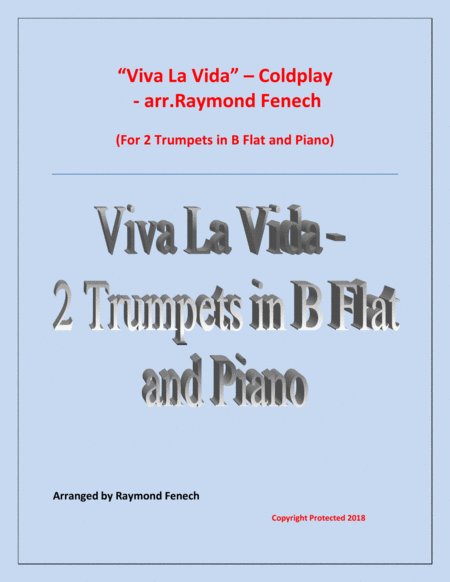 Viva La Vida Coldplay 2 Trumpets In B Flat And Piano With Optional Drum Set