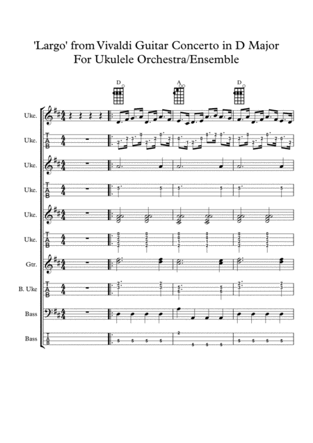 Vivaldi Guitar Concerto In D Major For Ukulele Orchestra Ensemble Music Tablature
