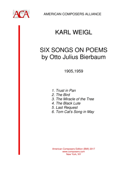 Weiglk Six Songs On Poems By Otto Julius Bierbaum