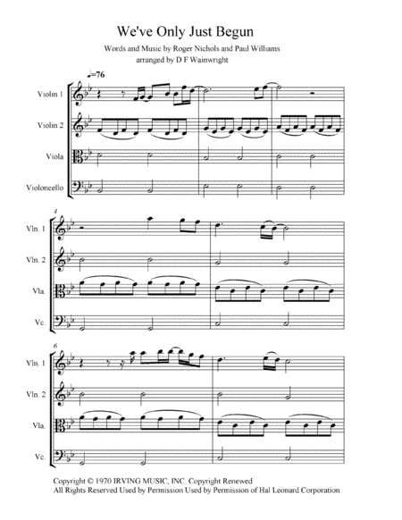 We Ve Only Just Begun Arranged For String Quartet Score And Parts Mp3