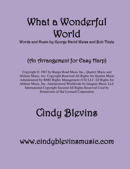 What A Wonderful World Arranged For Easy Harp