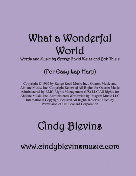 What A Wonderful World Arranged For Easy Lap Harp Solo
