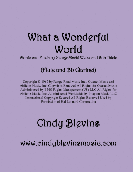 What A Wonderful World Arranged For Flute And Bb Clarinet