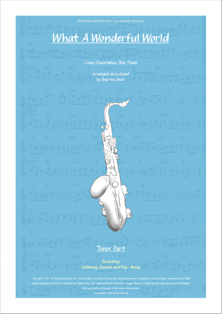 What A Wonderful World Arranged For Tenor Sax Incl Transcribed Solo